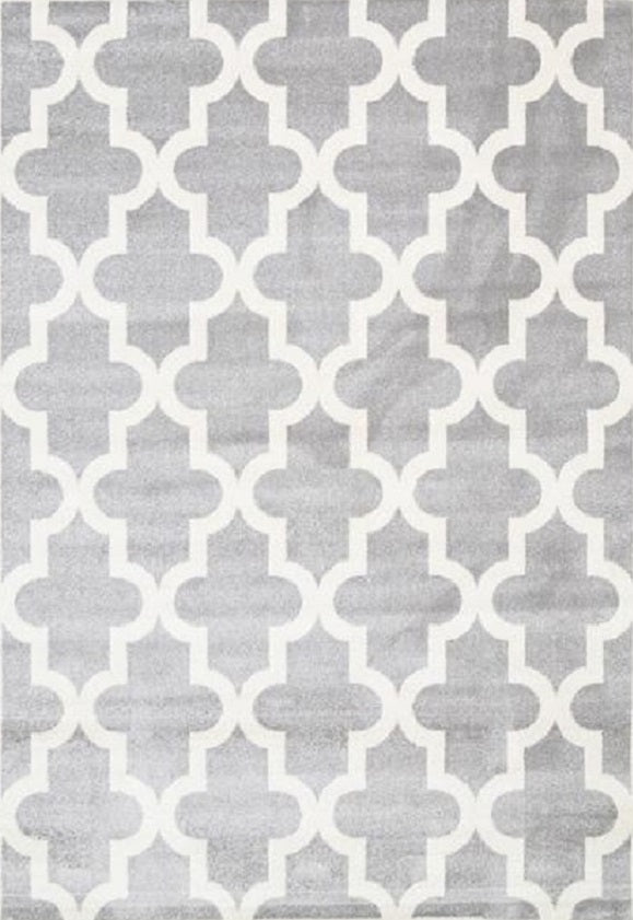 Bodhi Lattice Pattern Grey White Rug