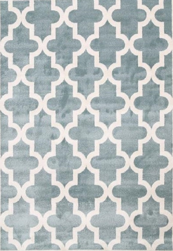 Bodhi Lattice Pattern Light Blue White Rug