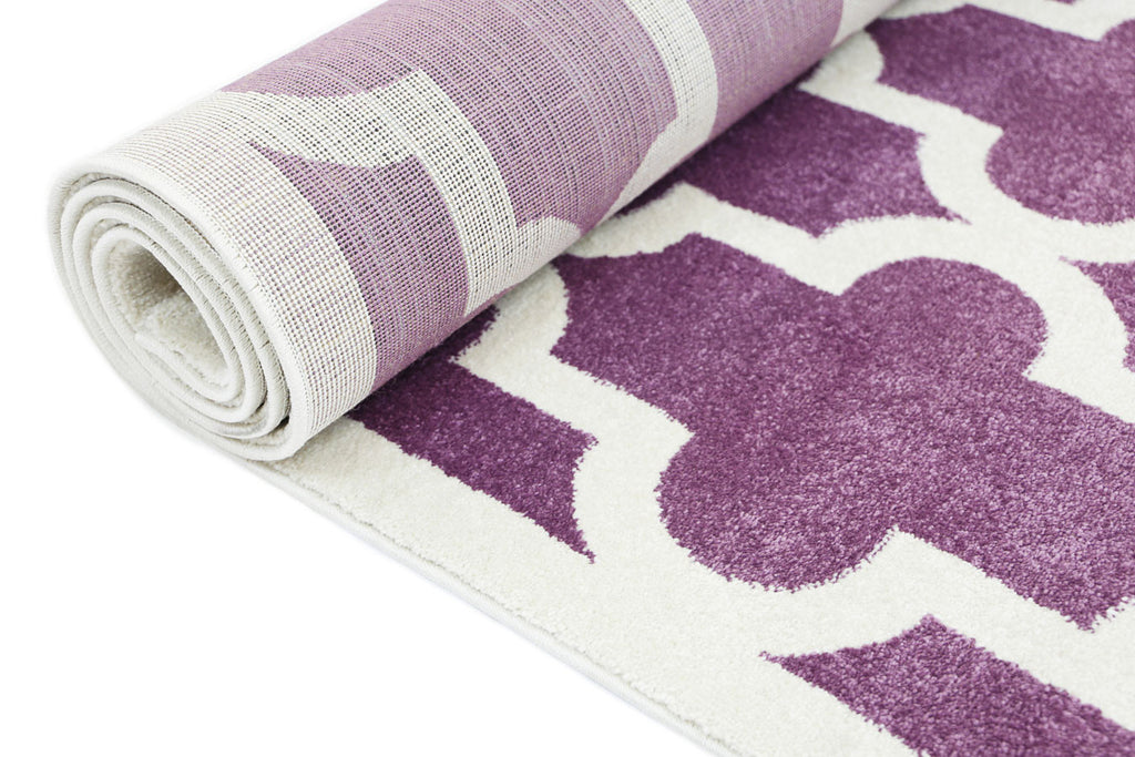 Bodhi Lattice Pattern Purple White Rug