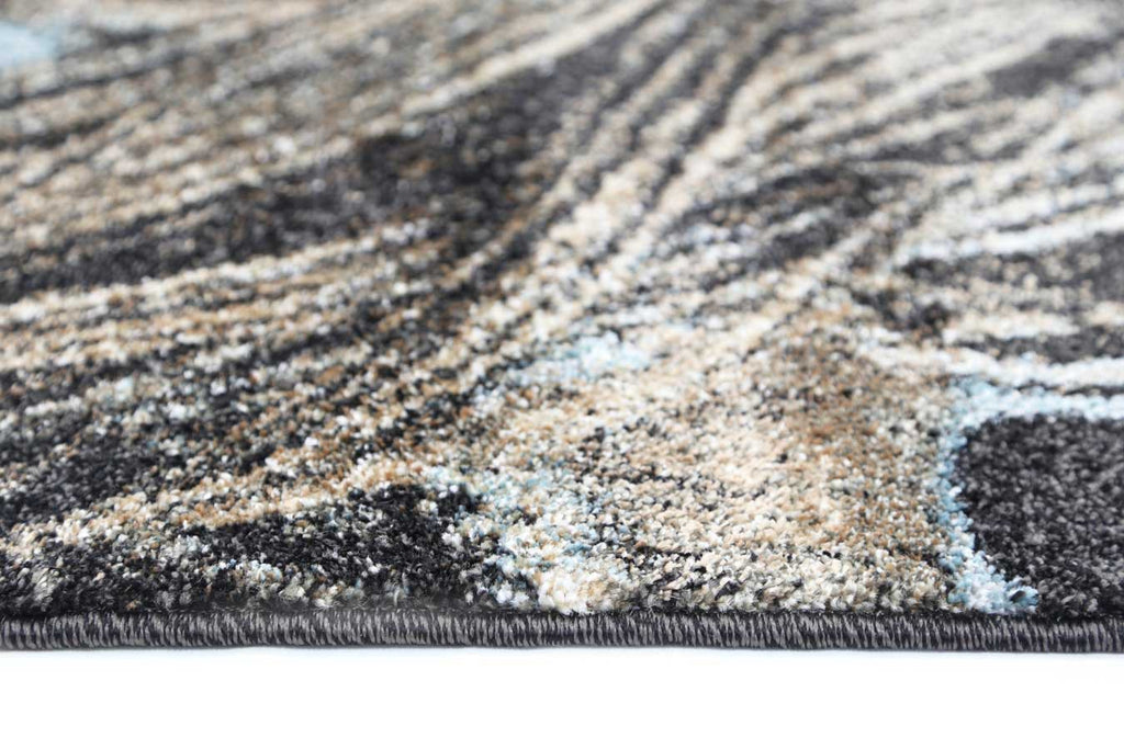 Axel Peacock Beige Blue Black Modern Floor Rug-3