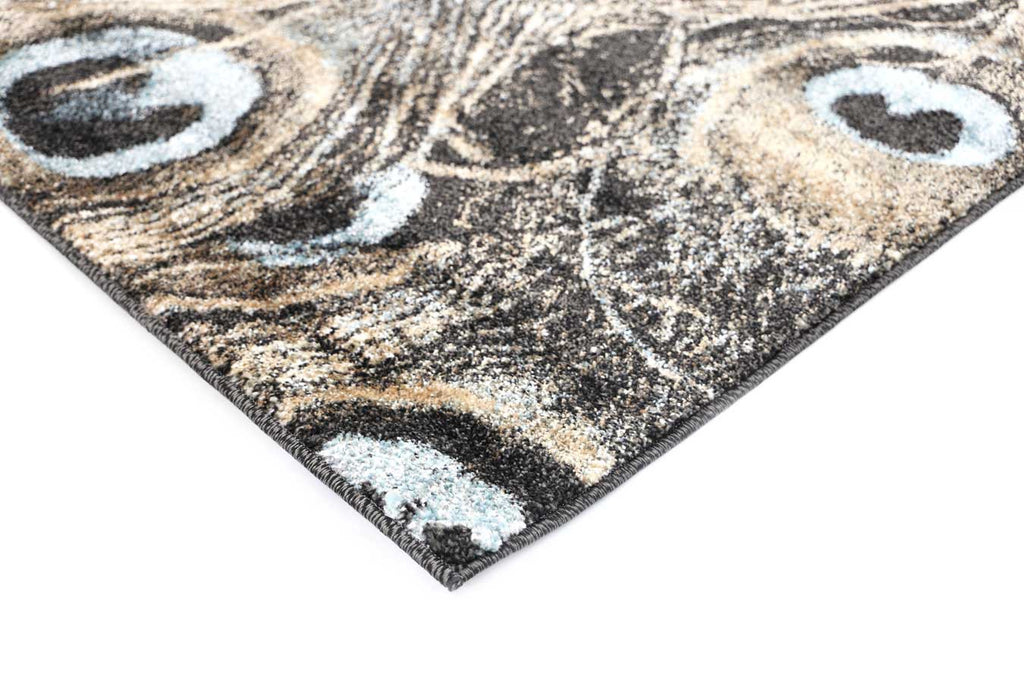 Axel Peacock Beige Blue Black Modern Floor Rug-4