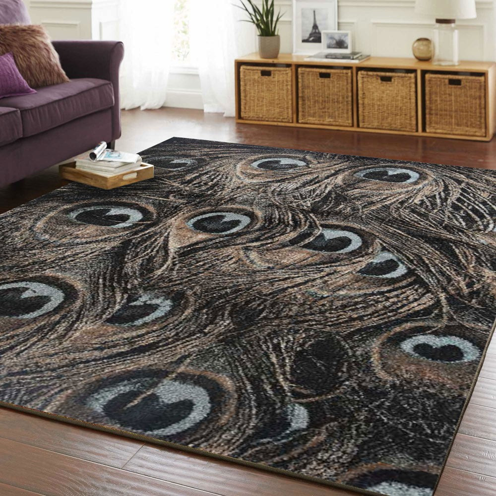 Axel Peacock Beige Blue Black Modern Floor Rug-1