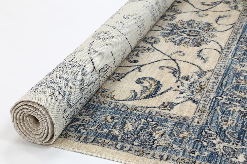 Delphi Vintage Cream Blue Boarder Rug