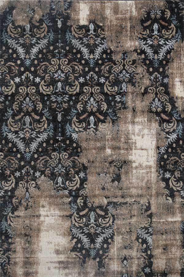 Axel Oriental Beige Black Traditional Floor Rug-1