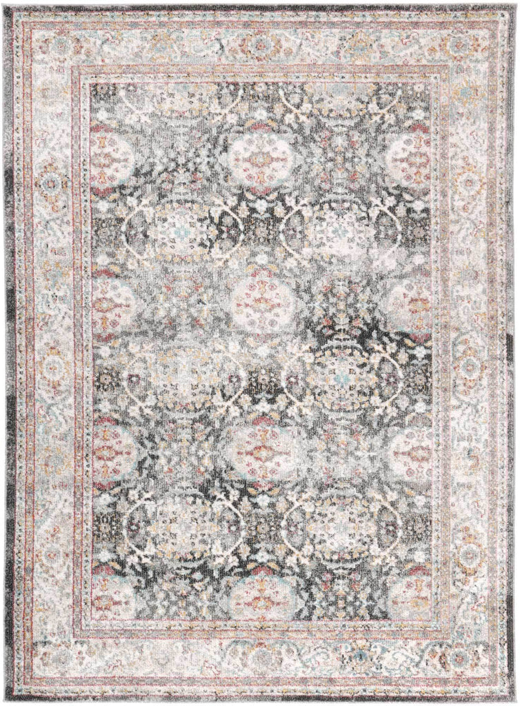 Everett Oriental Style Red Grey Traditional Rug