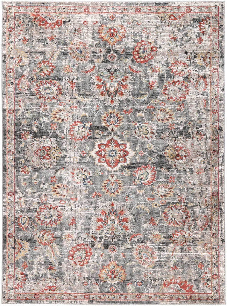 Everett Floral Faded Multicolour Traditional Rug