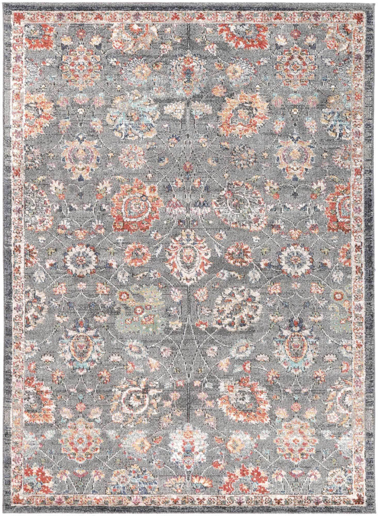 Everett Floral Grey Coloured Traditional Rug