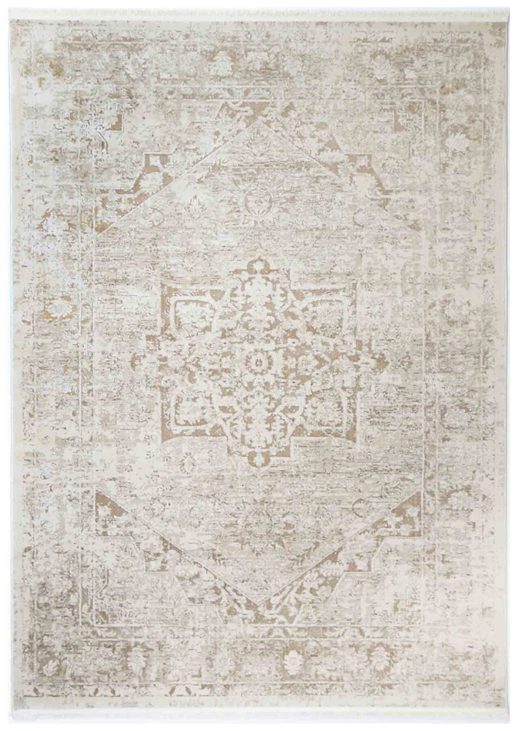 Ossett Beige Distressed Medallion Transitional Rug