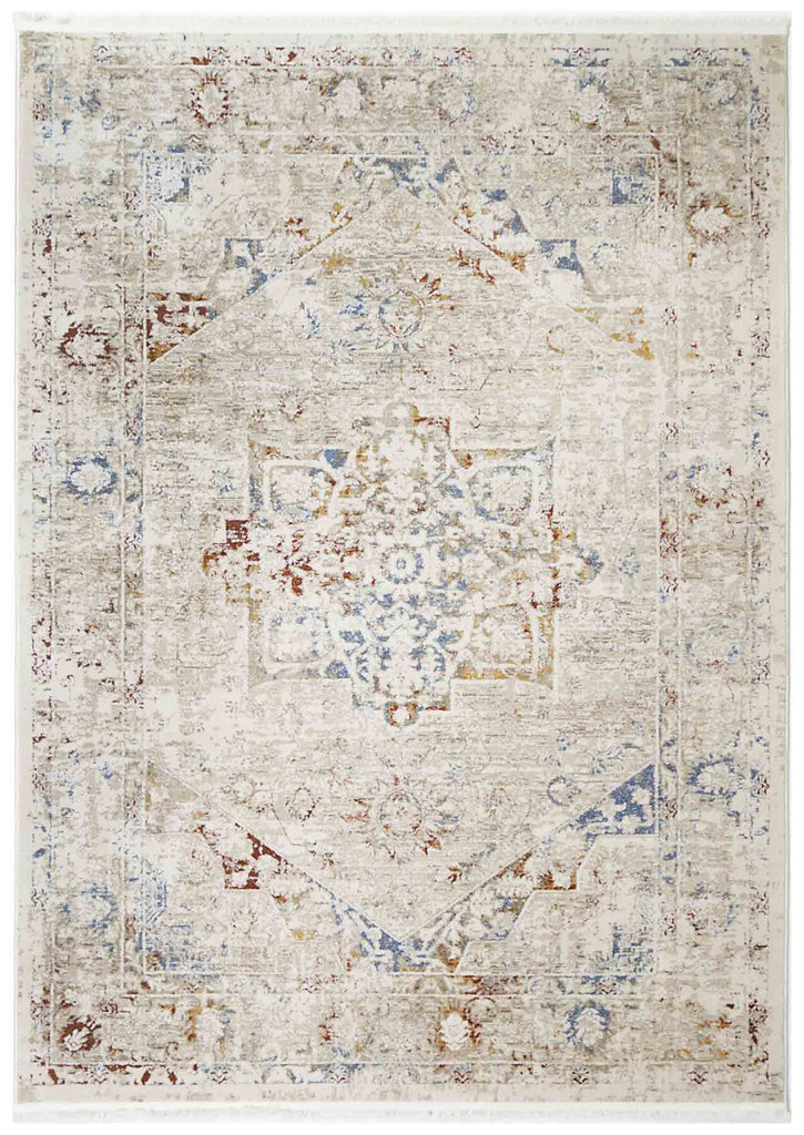 Ossett Colourful Distressed Medallion Transitional Rug
