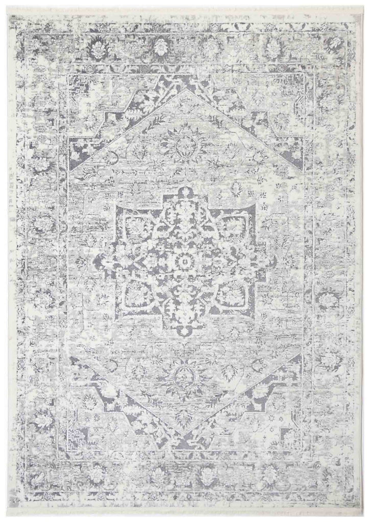 Ossett Grey Ivory Distressed Medallion Transitional Rug