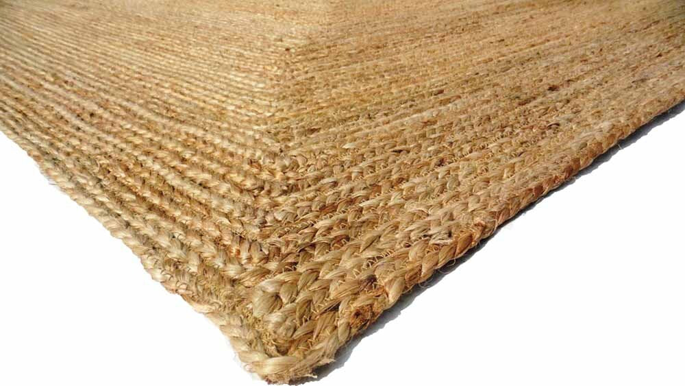 Patna Natural Woven Jute Beige Frame Braided Rug