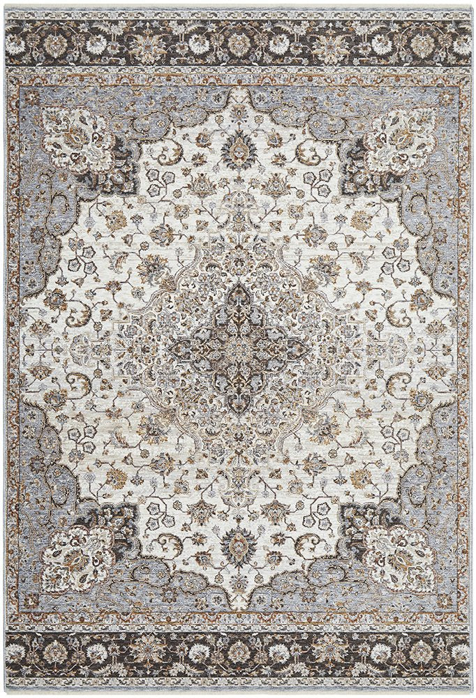 Avaris Medallion Silver Brown Traditional Rug