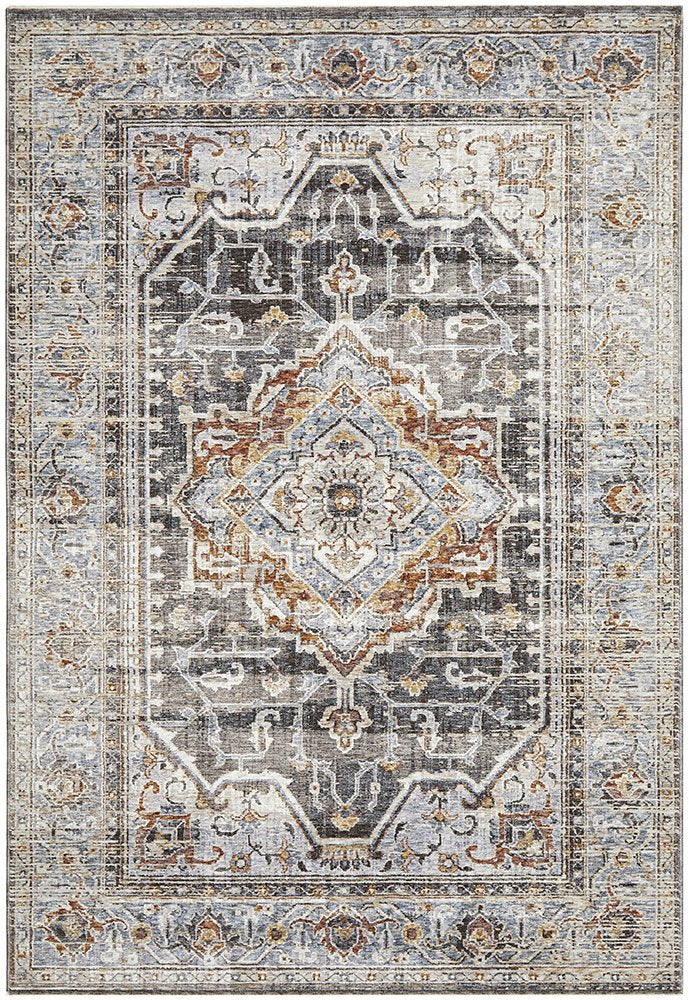 Avaris Diamond Design Grey Traditional Rug