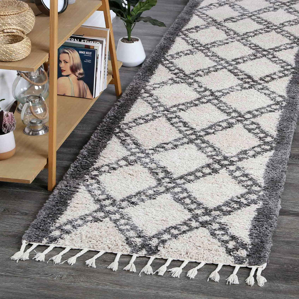 Sefrou Tribal Diamonds Cream Grey Moroccan Runner Rug