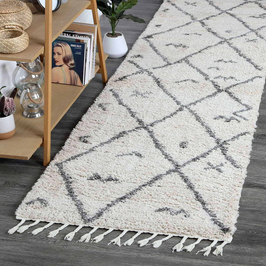 Sefrou Tribal Boho Cream Grey Moroccan Runner Rug