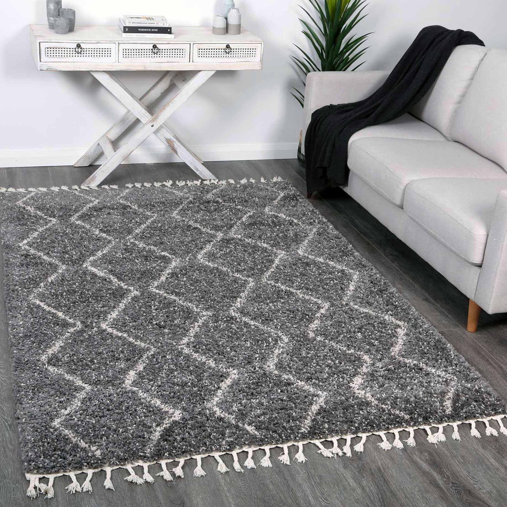 Sefrou Tribal Tapis Grey Cream Moroccan Floor Rug