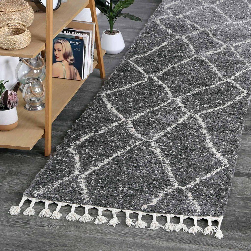 Sefrou Tribal Beni Grey Cream Moroccan Runner Rug