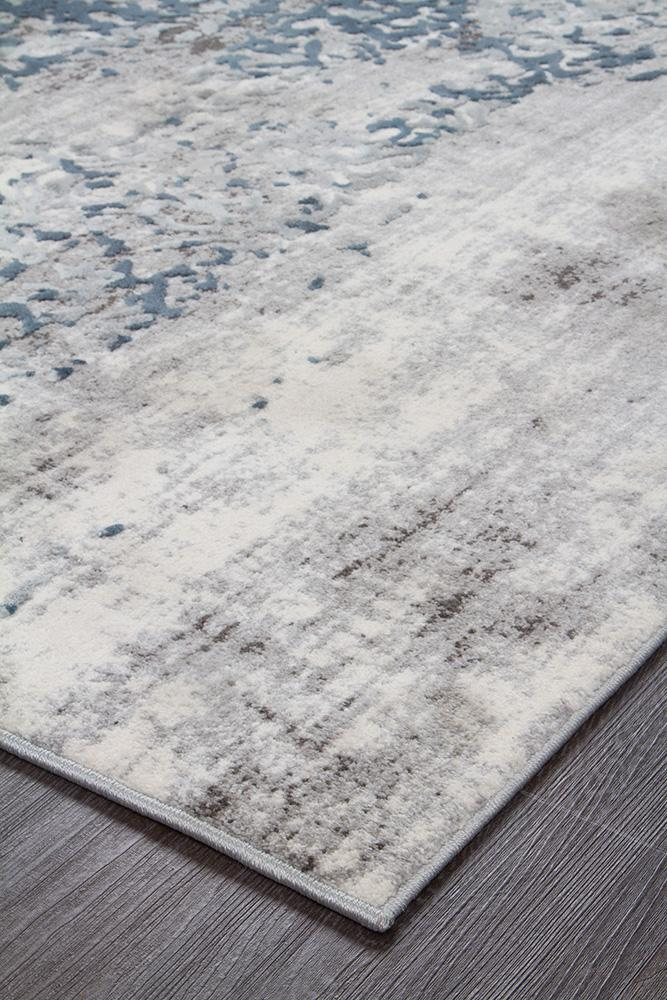 Malta Distressed White Blue Grey Contemporary Rug