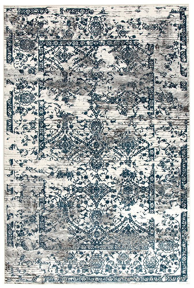Malta Distressed White Blue Grey Transitional Rug