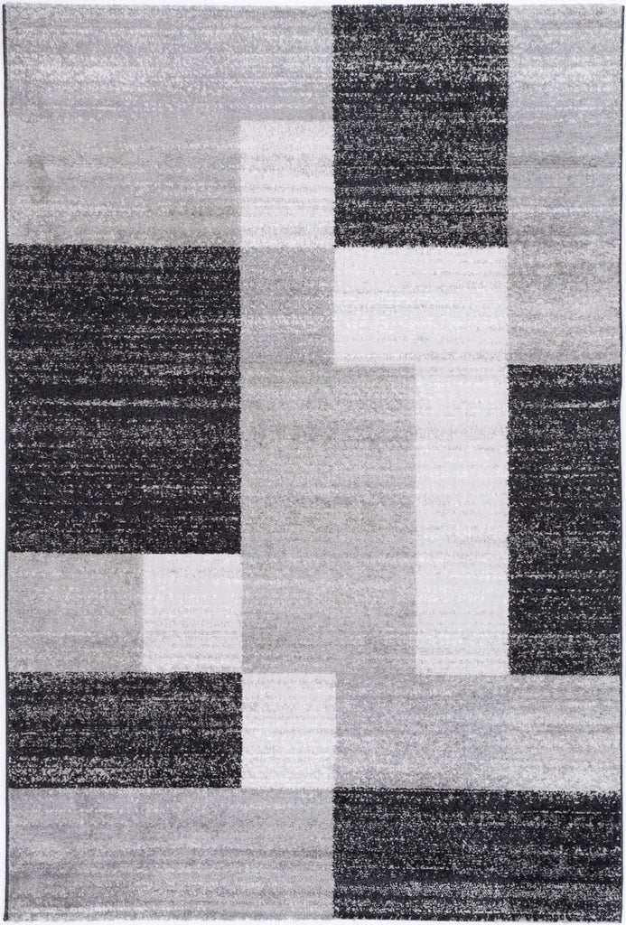 Costia Asbtract Rectangles Grey Modern Rug