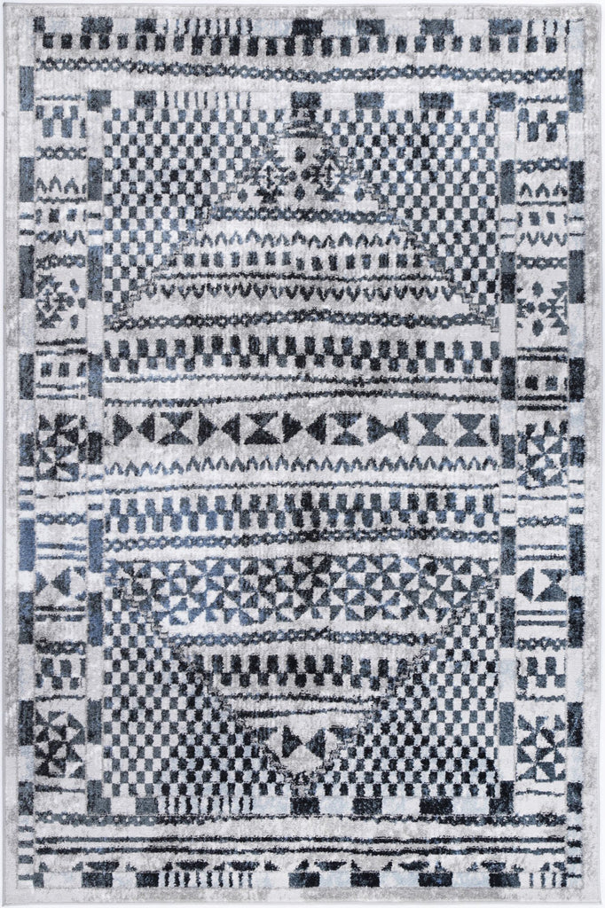 Costia Tribal Inspired Blue SIlver Modern Rug