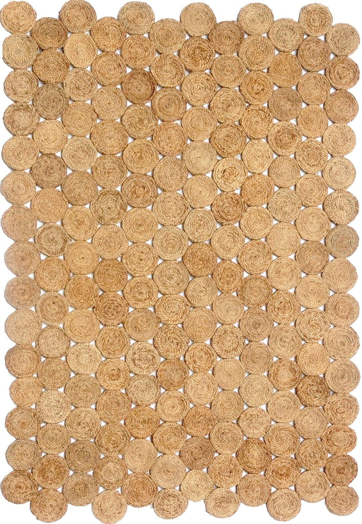 Patna Natural Woven Jute Beige Circles Braided Rug