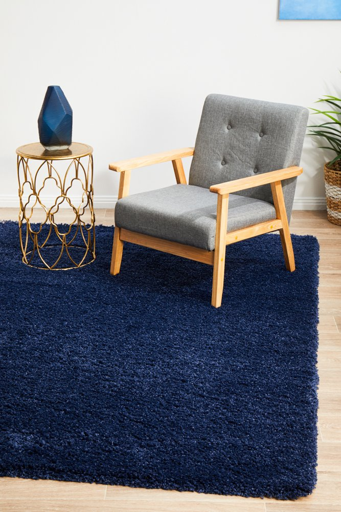 Alta Soft Blue Shaggy Modern Floor Rug