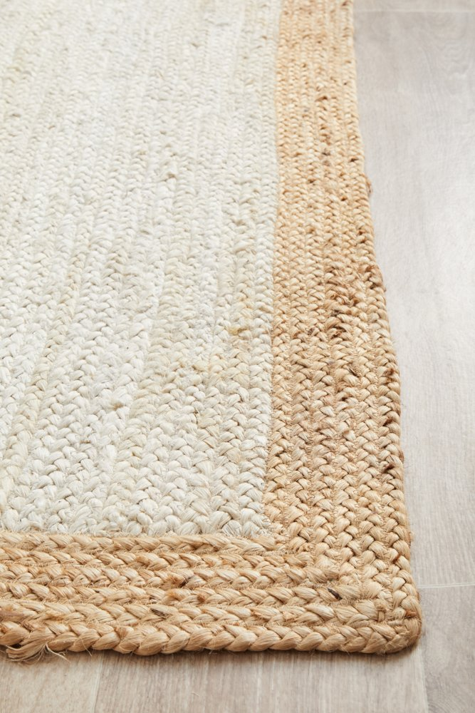 Elanora Bordered Jute Ivory Natural Runner Rug