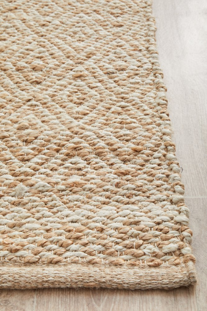 Elanora Diamond Jute Ivory Natural Runner Rug