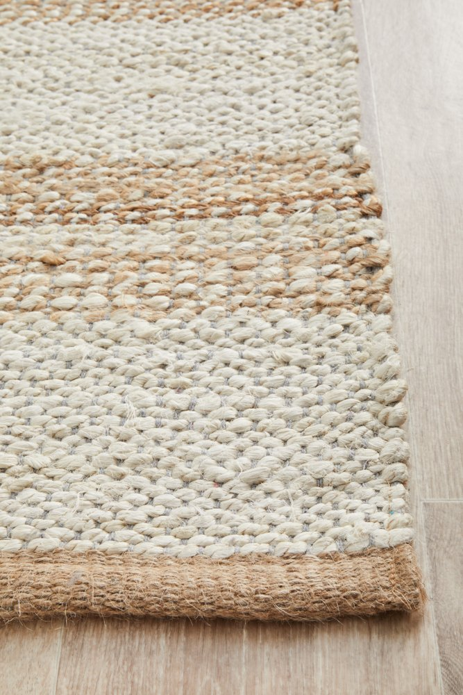 Elanora Striped Jute Ivory Natural Runner Rug