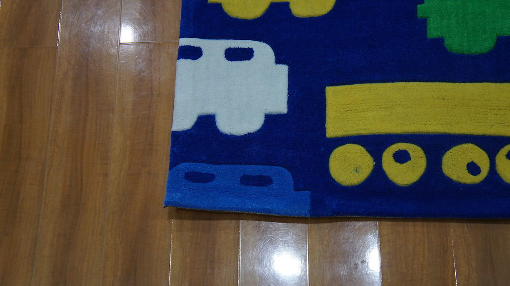 Candy Kids Blue Cars Trucks Thick Floor Rug 115X165Cm