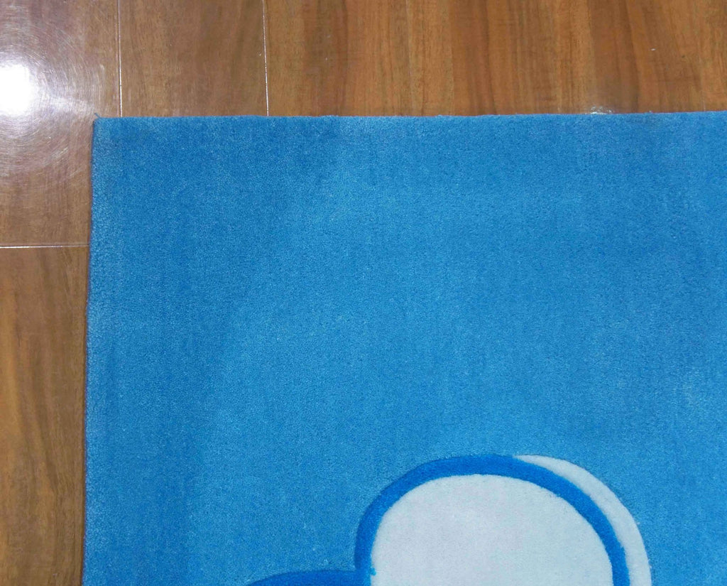 Candy Kids Blue Heart Skull Thick Floor Rug 115X165Cm