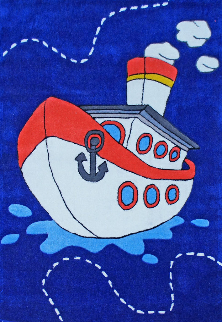 Candy Kids Sailing Steam Boat Thick Floor Rug 115X165Cm
