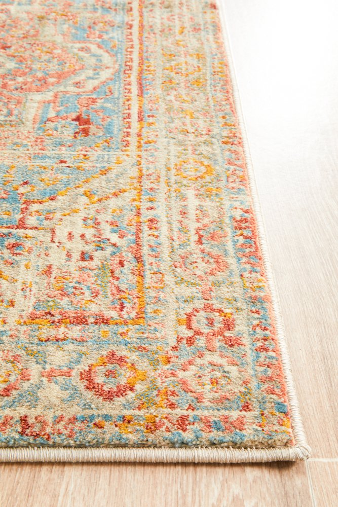 Helena Traditional Faded Coloured Modern Runner Rug