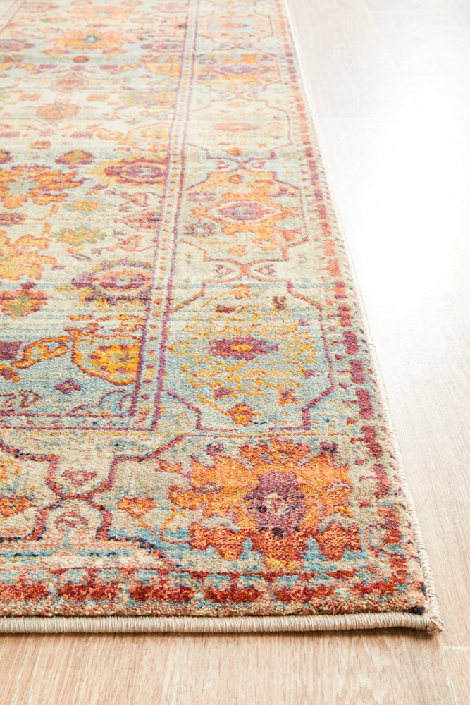 Helena Traditional Floral Multi Colour Modern Runner Rug