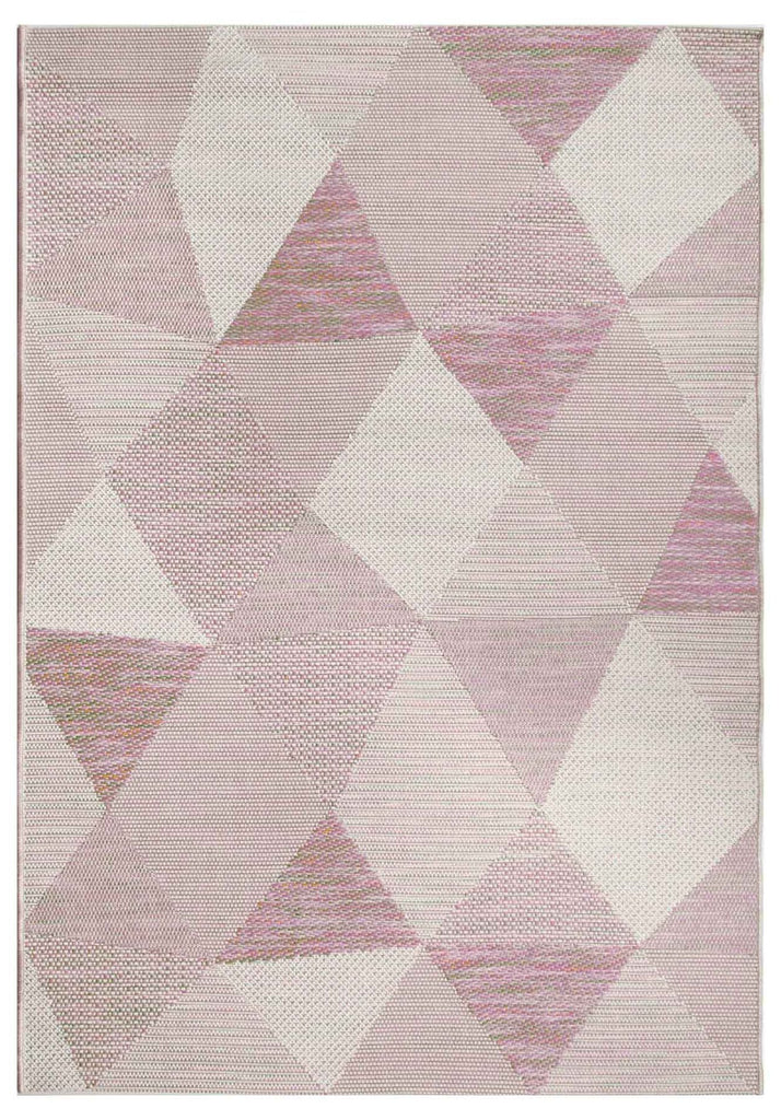 Hayes Stained Glass Style Beige Purple Indoor Outdoor Rug