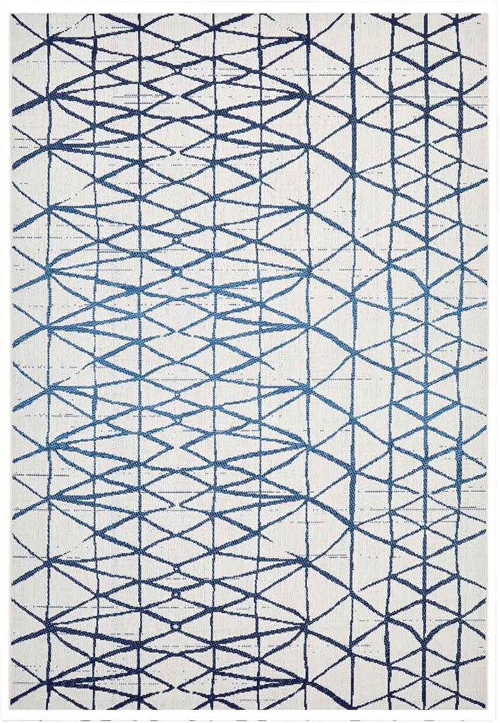 Hayes Geometric Style Ivory Blue Indoor Outdoor Rug