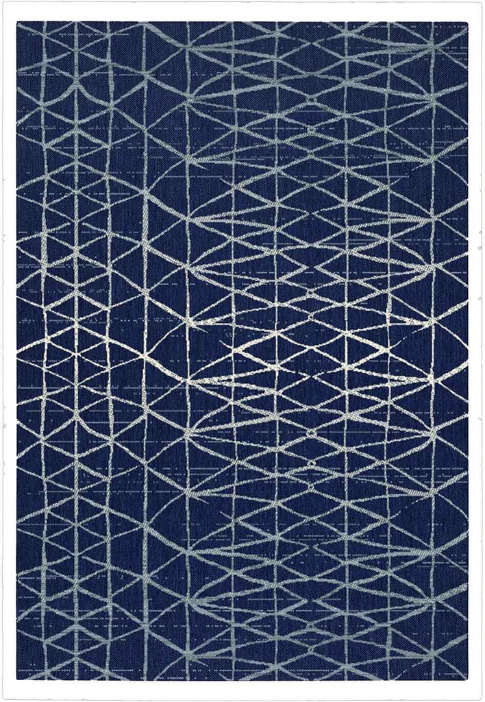 Hayes Geometric Style Navy Blue Indoor Outdoor Rug