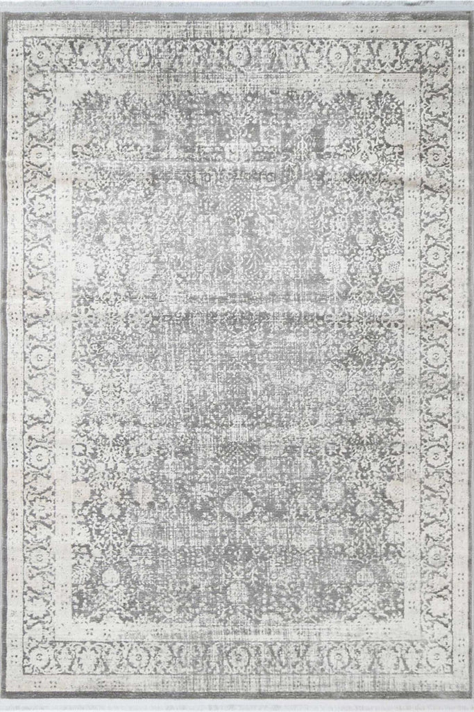 Clevedon Grey Distressed Allover Transitional Rug