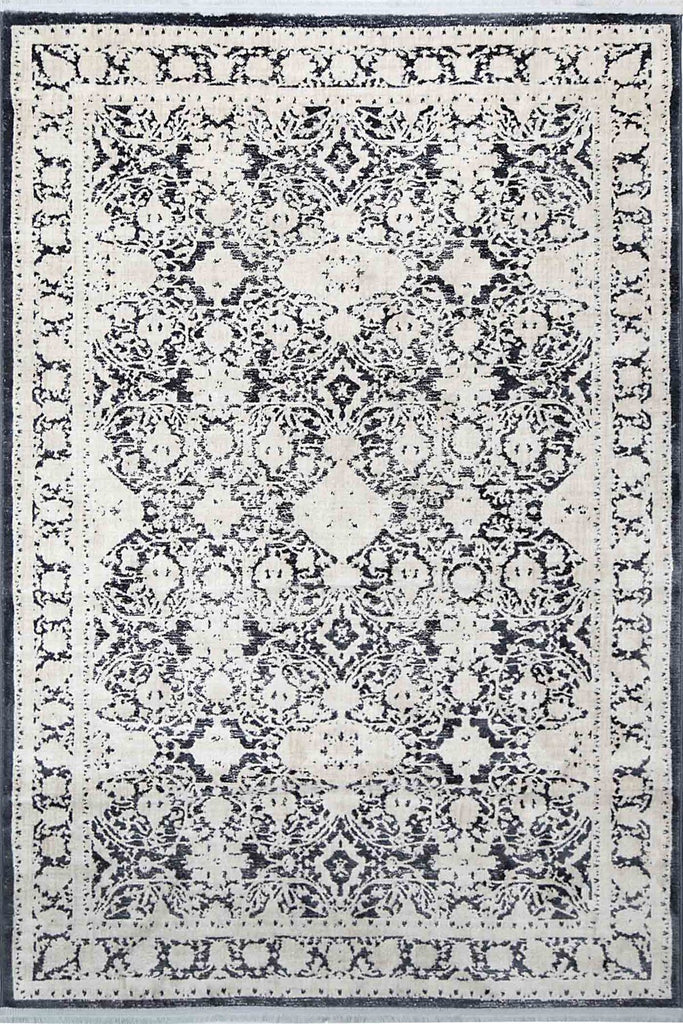Clevedon Navy Blue Distressed Eyelets Transitional Rug