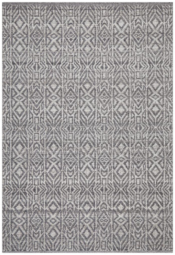 Anne Boho Wool Ivory Grey Modern Floor Rug
