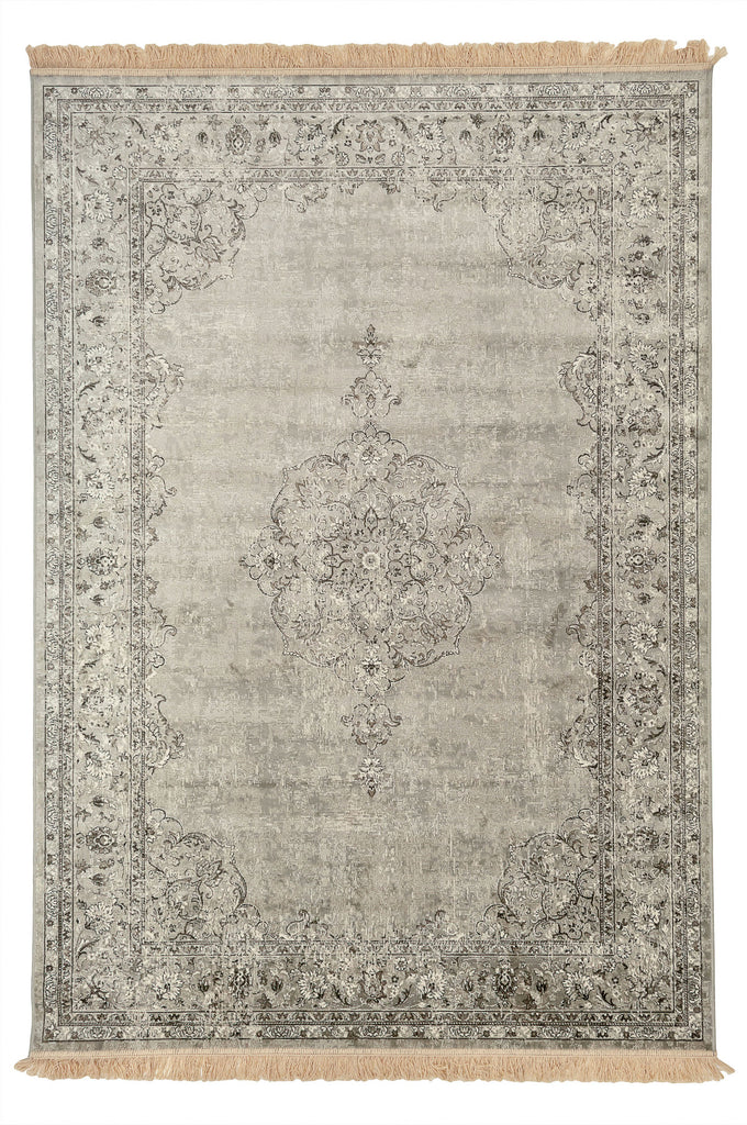 Alora Oriental Medallion Design Grey Traditional Rug