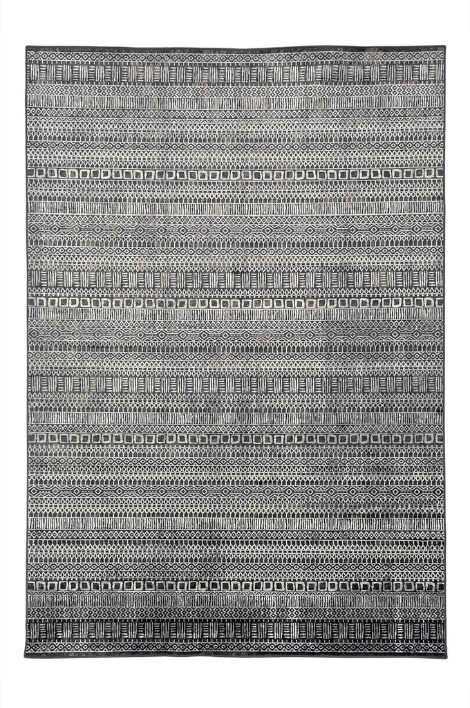 Alora Aztec Tribal Design Black Modern Rug