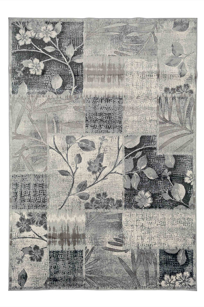 Alora Floral Distressed Design Cream Grey Modern Rug