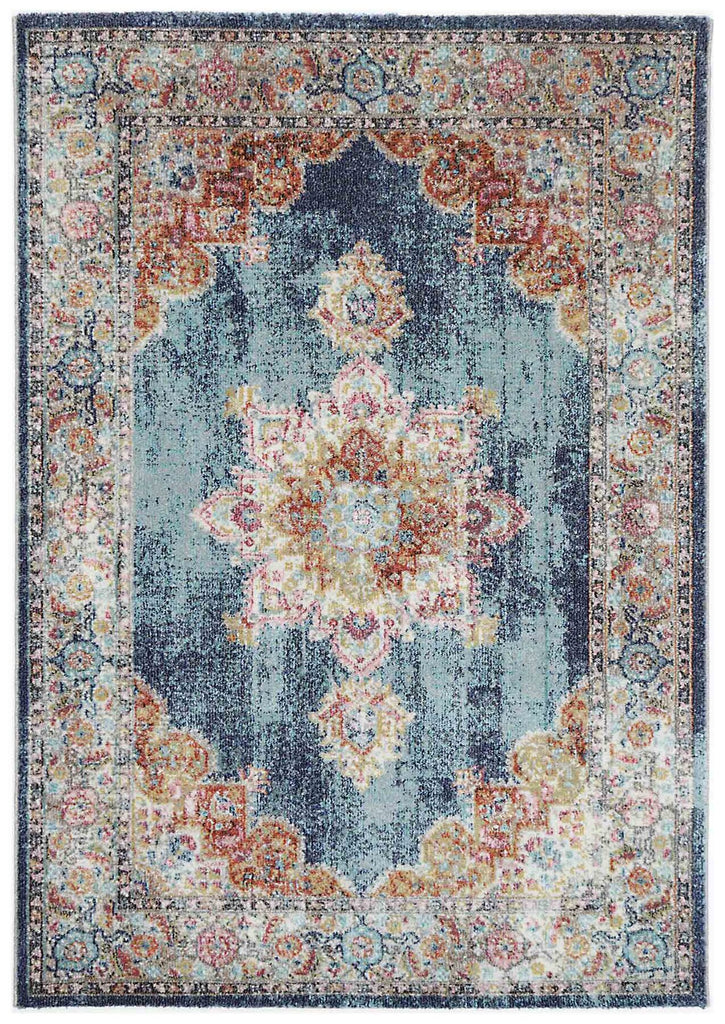 Reigate Blue Medallion Oriental Transitional Rug