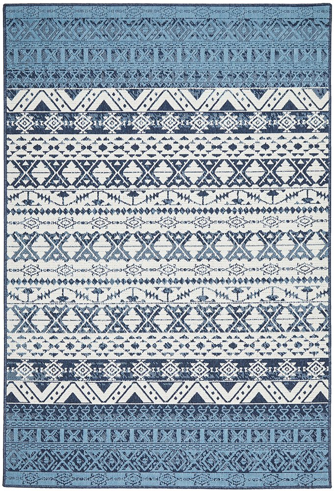 Mescal Tribal Indoor Outdoor Ivory Blue Modern Rug