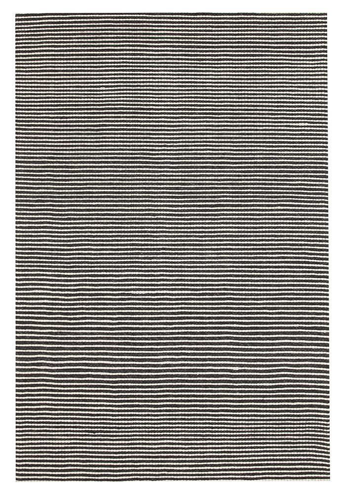 Hayden Felted Wool Striped Rug Black White