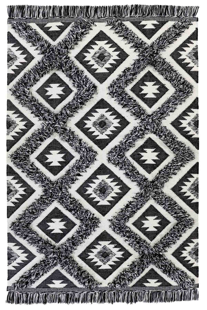 Gafsa Boho Moroccan Tribal Black White Rug