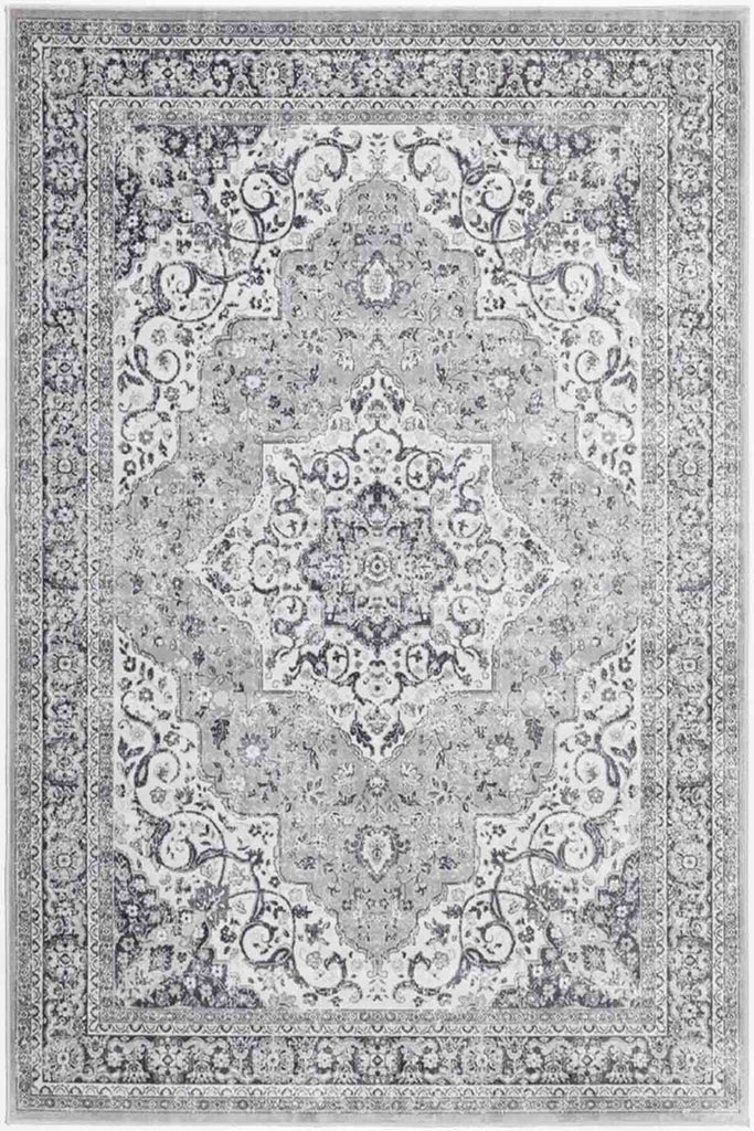 Hythe Oriental Medallion Design Grey Traditional Rug
