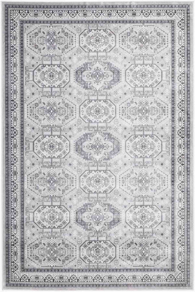 Hythe Oriental Jewels Design Grey Traditional Rug